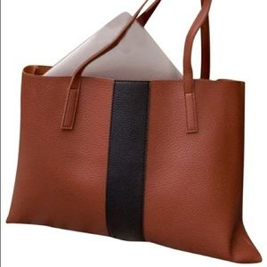 Vince Camuto Luck Tote / Vegan Leather Brown/Black